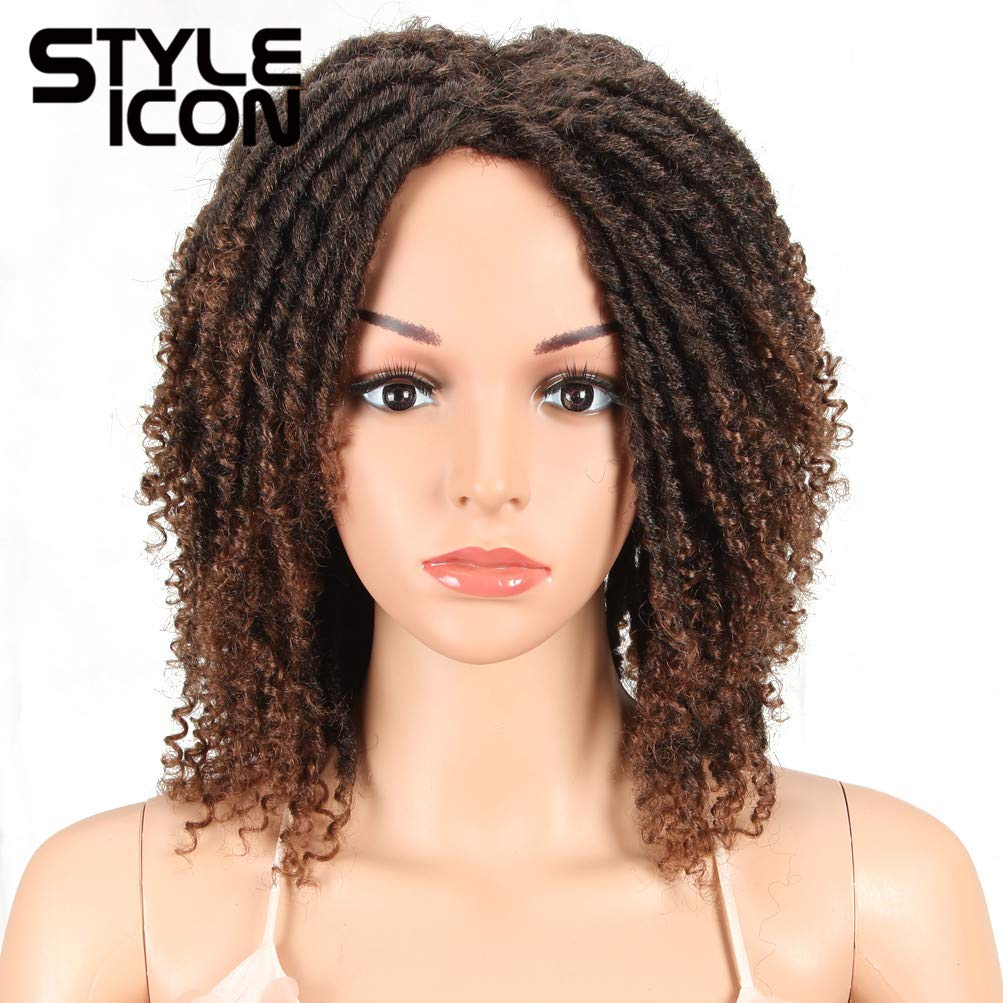 Style Icon 6'' Short Dreadlock Wig Twist Wigs for Black Women Short Curly Synthetic Wigs (6'', T1B/30) by Style Icon
