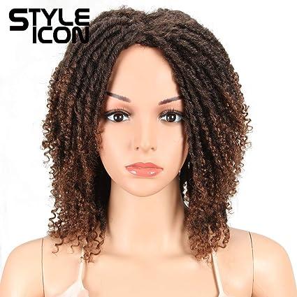 Style Icon 6 Short Dreadlock Wig Twist Wigs For Black Women Short Curly Synthetic Wigs 6 T1b 30