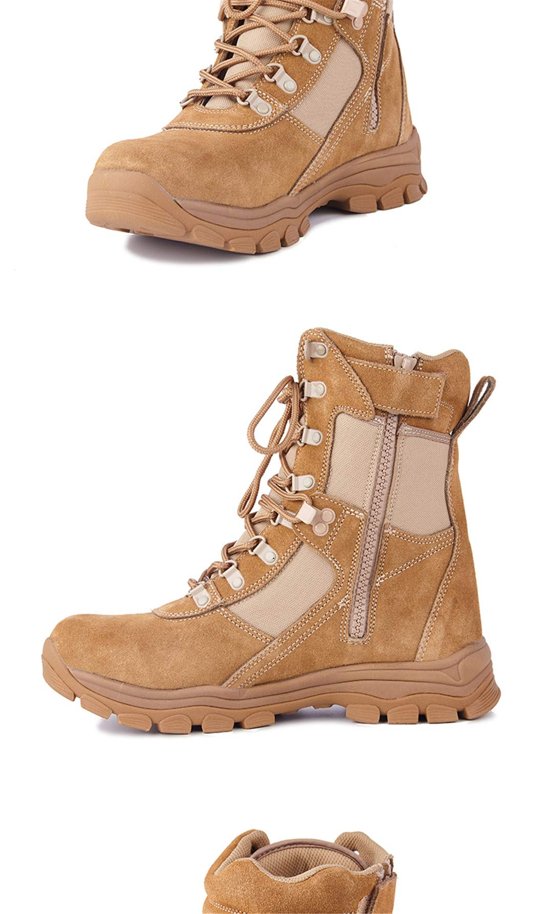 High Band Zipper Boots Male Air-Permeable Tactical Boots Army Boots Mountaineering Boots Yellow 7 by CNSDLK