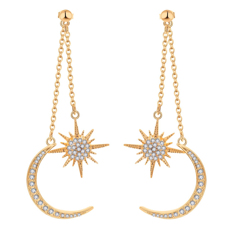 Amazon.com  Starchenie Moon and Star Earrings Dangle For Girls Womens Gold  Earrings Drop Earrings Dangle Earrings  Jewelry 27436e665