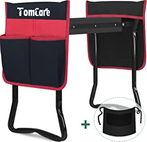 TomCare Upgraded Garden Kneeler and Seat Widen Soft Kneeling Pad Garden Tools Stools Garden Bench with 2 Large Tool Pouches Outdoor Foldable Sturdy Gardening Tools Gifts for Gardeners, Black