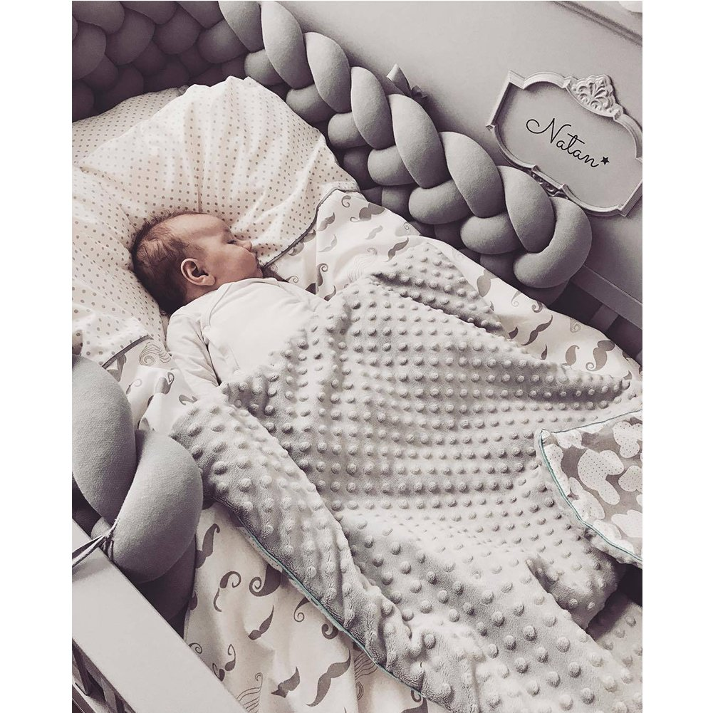 """Infant Soft Pad Braided Crib Bumper Knot Pillow Cushion Cradle Decor for Baby Girl and Boy (Grey, 157"""")"""