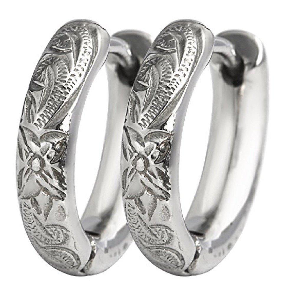 Hoop Earrings Hawaiian Style by Austaras - Set of Two Earrings for Women, Girls, Boys and Men 925 Sterling Silver Plated 13mm Hypoallergenic 316L Stainless Steel Jewelry Plumeria Flower