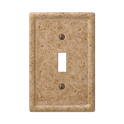 Tumbled Faux Textured Stone Toggle Switch Wall Plate Noce Resin