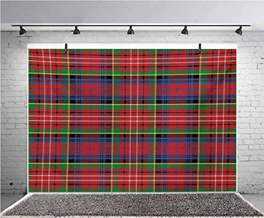 Plaid 6x8 FT Photography Backdrop Old Fashioned Scottish Tartan Country Style with Geometric Look Abstract Arrangement Background for Party Home Decor Outdoorsy Theme Vinyl Shoot Props Multicolor