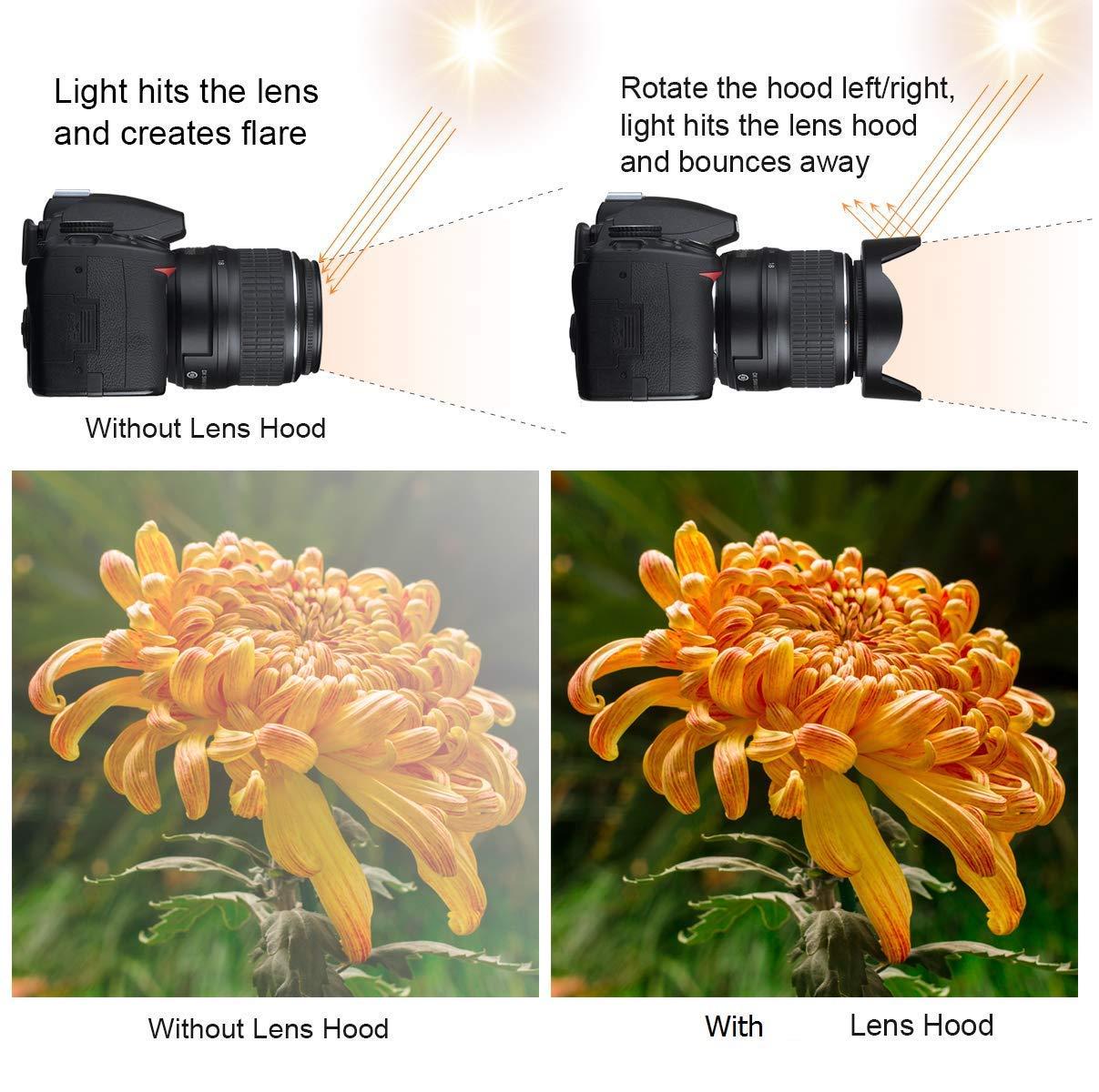 D5600 55mm and 58mm Tulip Lens Hood and UV Protective Filter Set for Nikon D3500 D3400 DSLR Camera with Nikon 18-55mm f//3.5-5.6G VR AF-P DX and Nikon 70-300mm f//4.5-6.3G ED