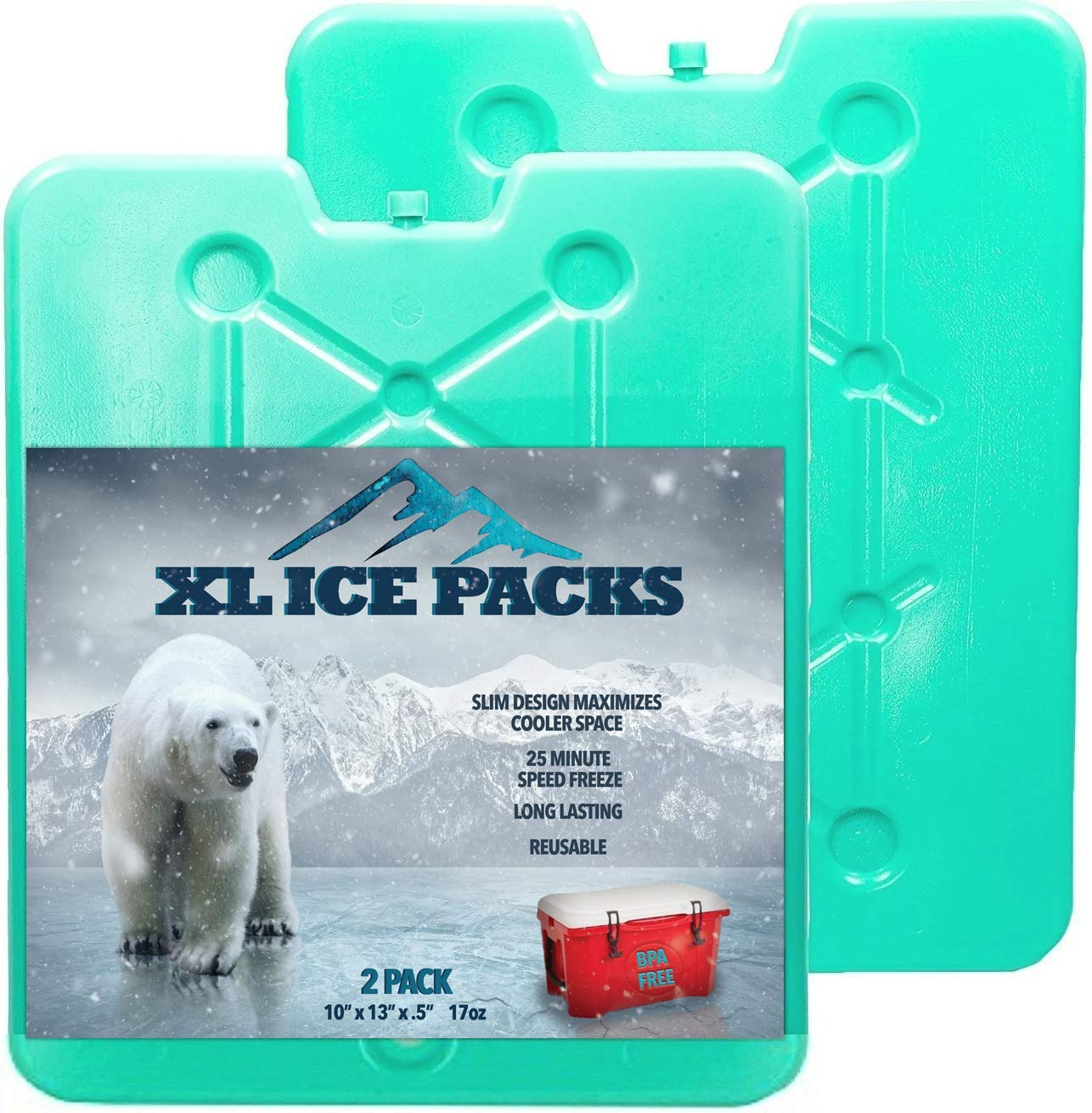 Large Ice Packs For Coolers and Ice Chest by Portion/Perfect - 20 Minute Quick Freeze Long Lasting Freezer Packs - Slim, Sealed and Reusable Ice Substitute 13 x 10 inch - Set of 2 by Portion Perfect