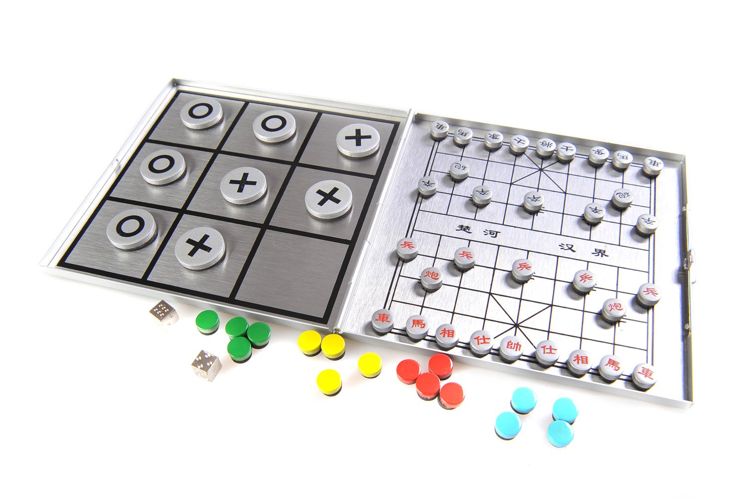 Quantum Abacus Azerus Alu Line: 4-in-1 Game Set B - Xianqi, Ludo, Solitaire (Peg Solitaire or Sailor's Solitaire), Tic-Tac-Toe, with Magnetic Game Pieces, Playing Board (XY041P4 DE)