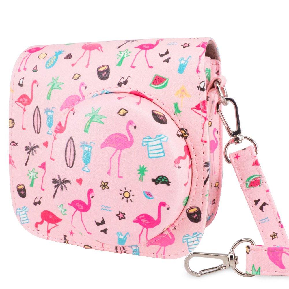Wolven Protective Case Bag Purse for Fujifilm Instax Mini 9/Mini 8/Mini 8+ Instant Camera,Pink Flamingo