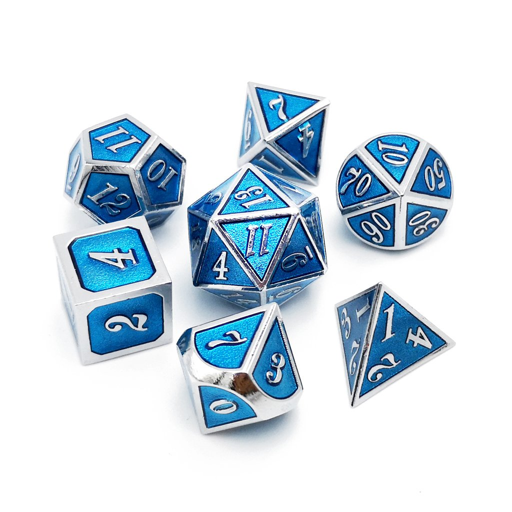 Haxtec 7PCS Zinc Alloy Metal Dice Durable Polyhedral Dice D20 D12 D10 D8 D6 D4 for Dungeons and Dragons DND RPG MTG Table Games-Glossy Enamel Dice Tiffany Blue