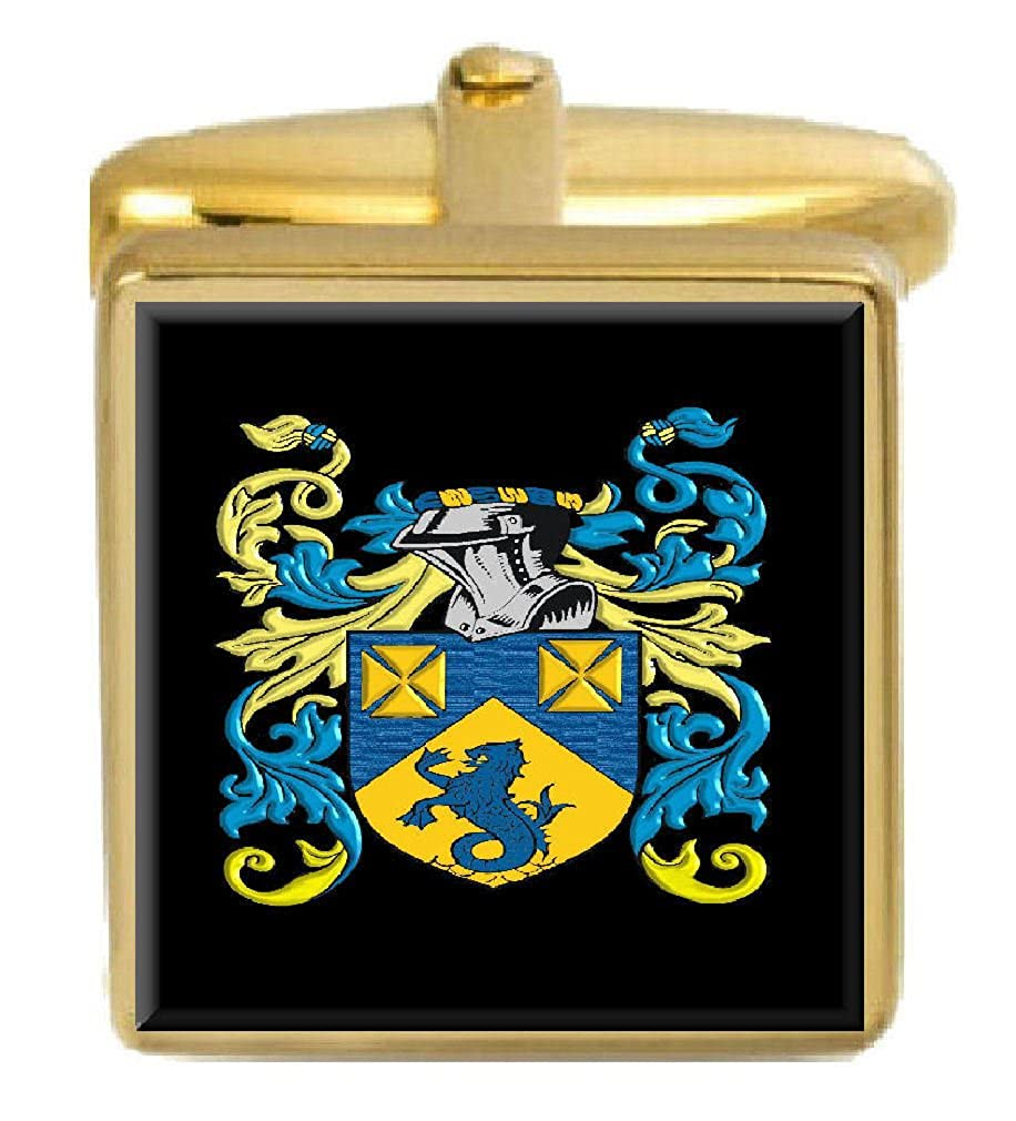 Select Gifts Parsons Wales Family Crest Surname Coat Of Arms Gold Cufflinks Engraved Box