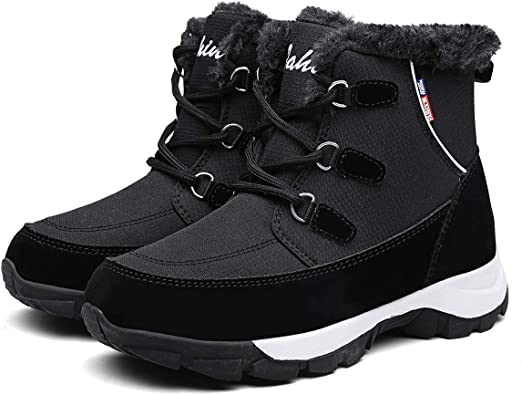 Womens Winter Waterproof Snow Ankle Boots Flat Combat Fur Warm Shoes  Fashion