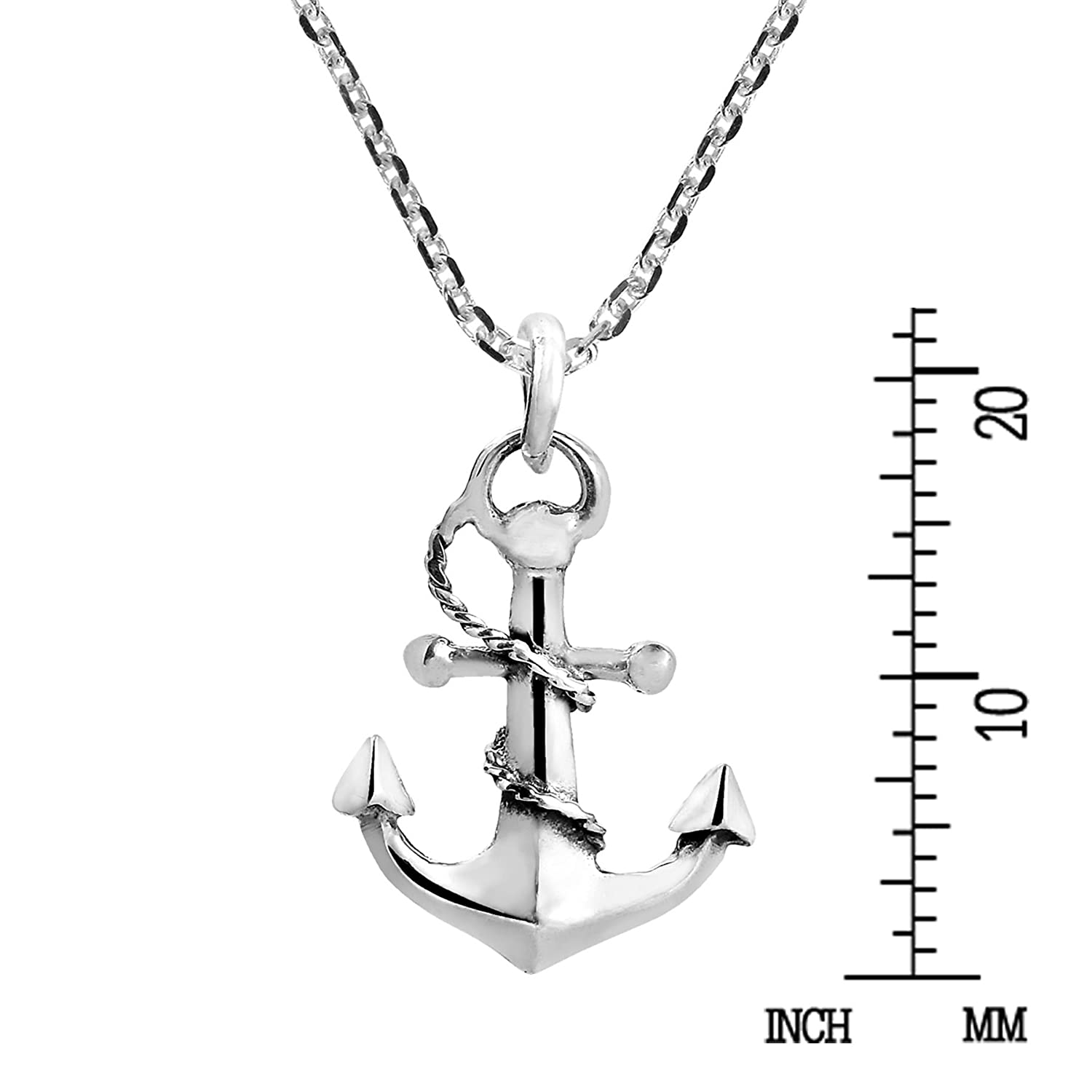 dbac1348e3af Amazon.com  AeraVida Nautical Rope and Anchor .925 Sterling Silver Necklace   Jewelry