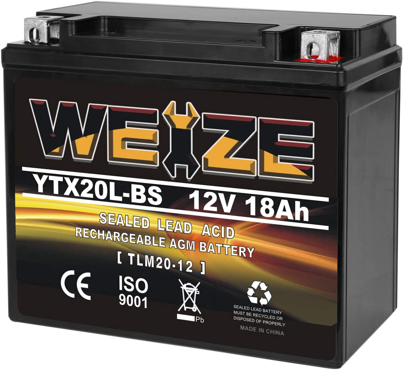 Weize YTX20L-BS High-Performance Power Sports