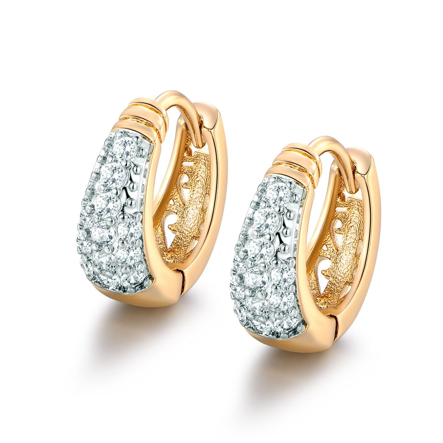 CS-DB 18K Real gold filled Platinum cool white Swarovski Crystal lady promise hoop earring CS-DB Gold