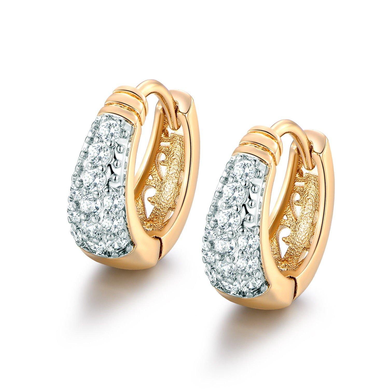 CS-DB 18K Gold filled Earrings white Swarovski Crystal lady Distinctive hoop earring CS-DB Gold