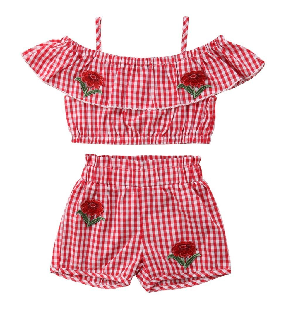 VISGOGO Kid Baby Girls Embroider Flower Plaid Off Shoulder Tops Pants Shorts Outfit Clothes 2pcs Set