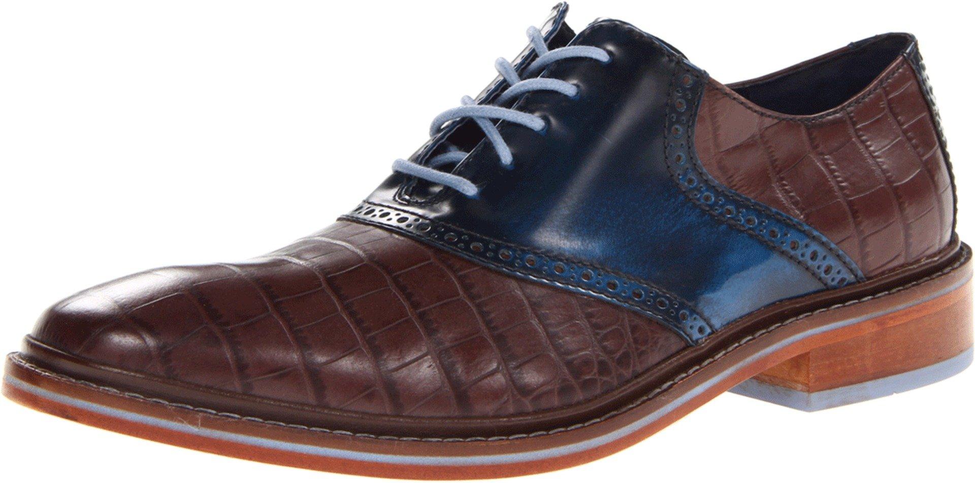 Cole Haan Men's Colton Winter Saddle OxfordChestnut Croc Print/Blazer Blue7 M US