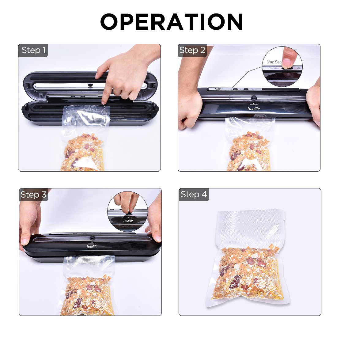 Vacuum Sealer Upgraded Automatic Vacuum Air Sealing System Preserve & Store Food Vacuo for Sous Vide Cooking Roll of Vacuum Bags (Black) by LunaLife (Image #3)