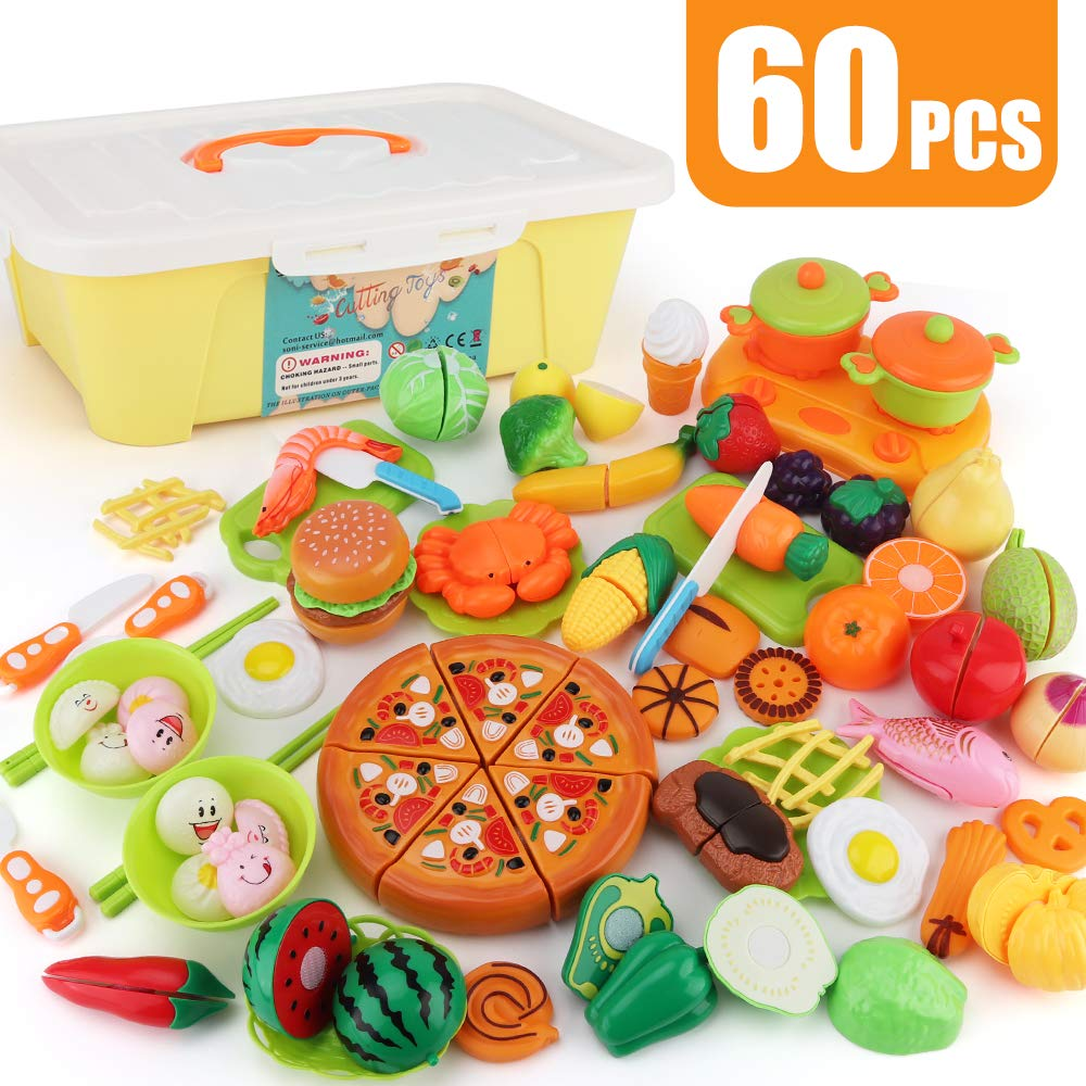 SONiKi 60 PCS Cutting Toys Play Food Kitchen toys for Toddler Kids Plastic Fruits Vegetable Sea Food and Pizza Fast Food set and Chinese dumpling Kitchen Cooking Tools and Tableware with Large Storage   B07HXGH4NK