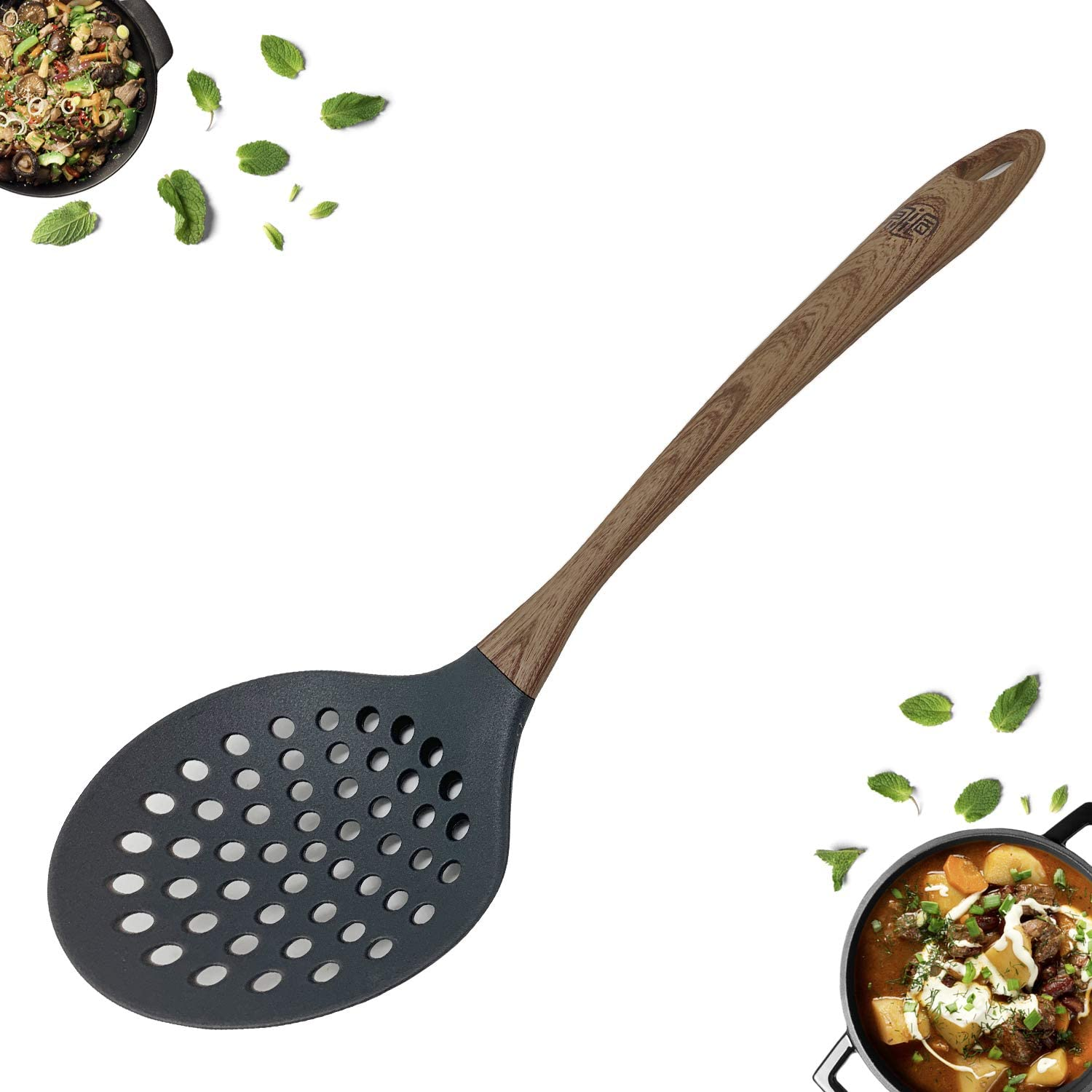 TongYuan Skimmer Slotted Spoon with Woodlike Soft Touch Handle, Stylish and Comfortable Grip Skimmer Spatula - Cooking Strainer For Soups,Stews,Gravy,Hot and Cold Foods