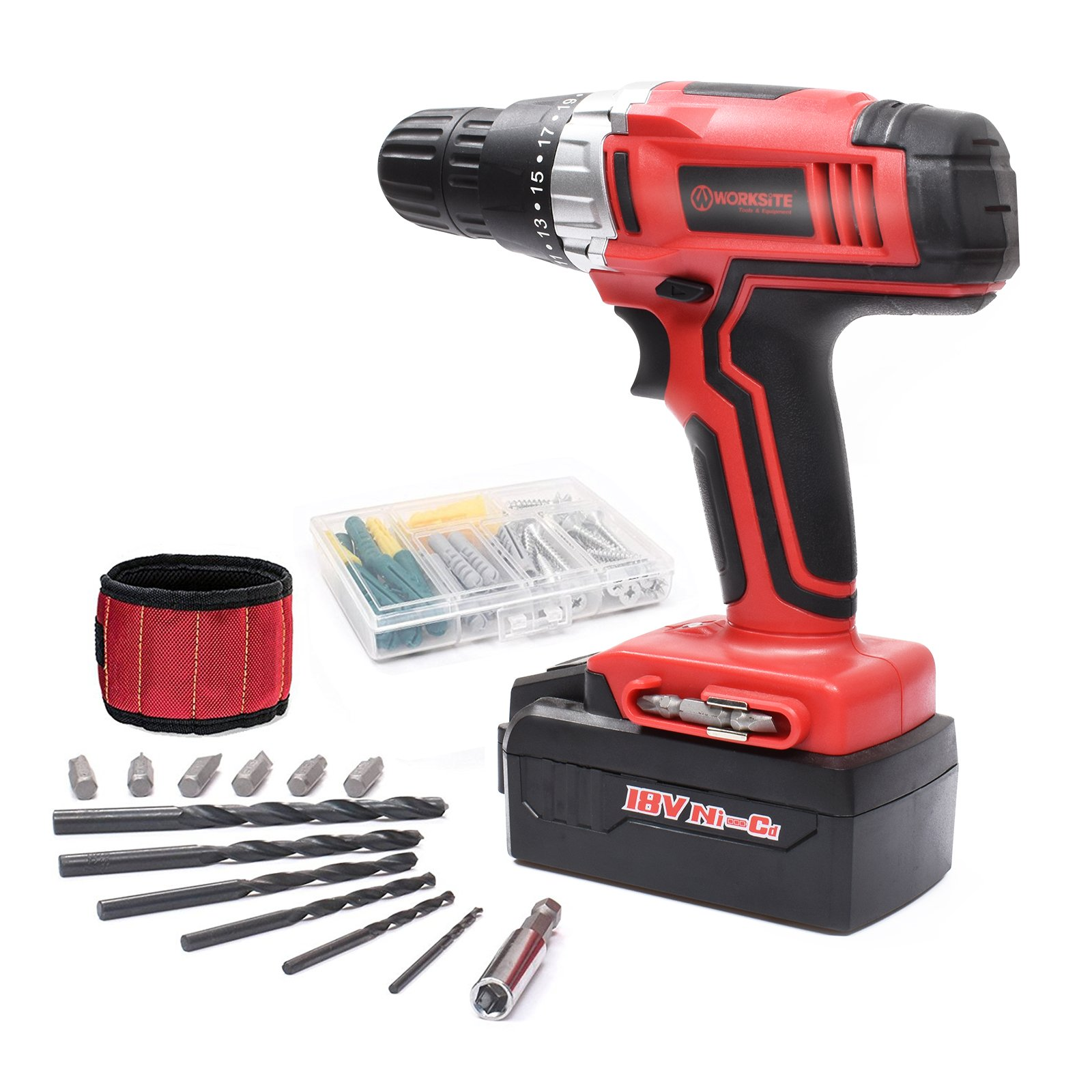 Cordless Drill ScrewDriver WORKSITE CD312-18N 18-Volt 1200mA Ni-cd Battery Powerful Electric Drill Driver Built-in Light with 13 Pcs Accessories Bits Set and Magnet Wristband