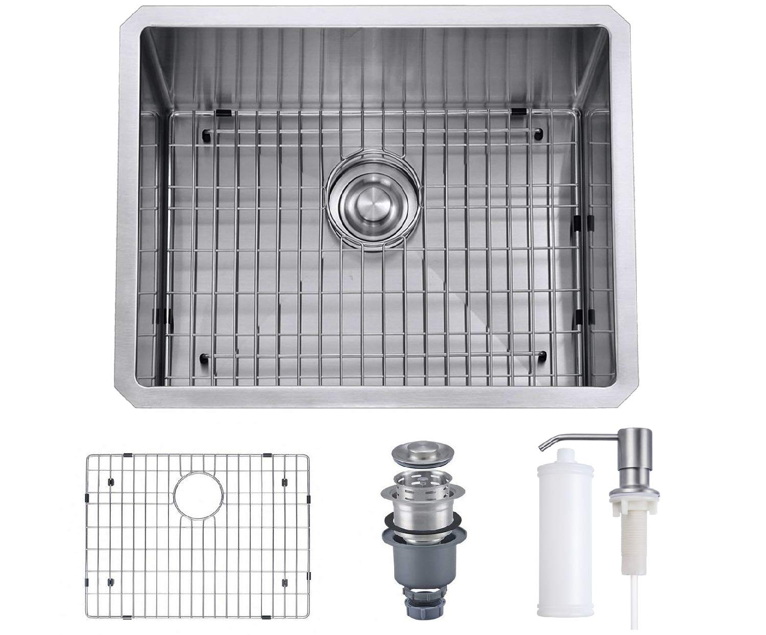 MOWA 23 inch Undermount 16 Gauge Stainless Steel Bar Prep Kitchen Sink, 10-inch deep laundry sink w/Soap Dispenser & Basket Strainer, Upgraded w/Perfect Drainage, Commercial Handmade Stainless Sink