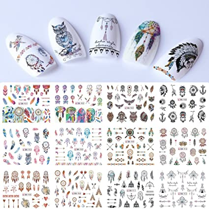 Cattie Girl Dream Catcher Owl 12 Designs Nail Art Sticker Fashion Full  Cover Image Decals Nail Transfer Water DBeauty ecals Tool