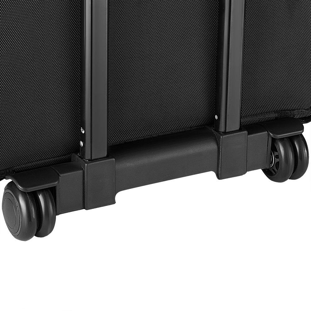 Autofamily Mallette Maquillage Trolley 2-in-1 Beauty Case en Tissu avec roulettes pour Voyage Bandouli/ère R/églable Noir