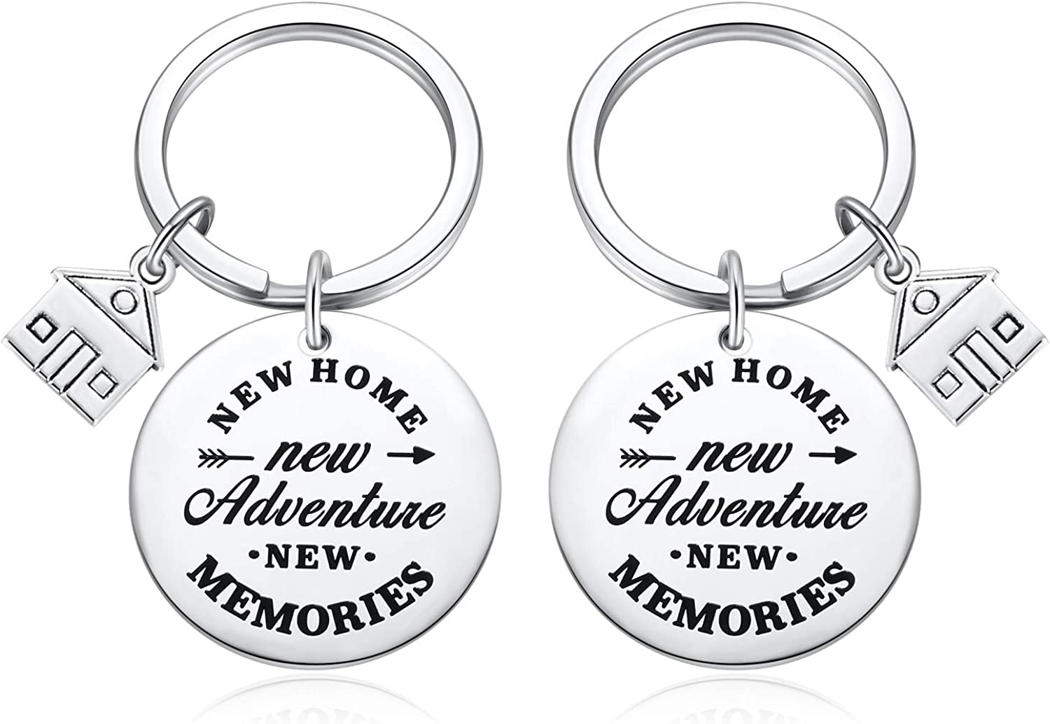 2PC Housewarming Gifts, New Home House Warming Presents for Couples Keychain - New home, New Adventures