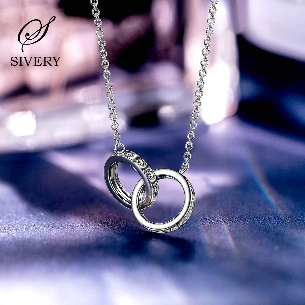 Hypoallergenic 925 Sterling Silver Necklace Pendant Gifts for Mom Birthday Gifts for Her SIVERY Contract of Love Necklaces for Women