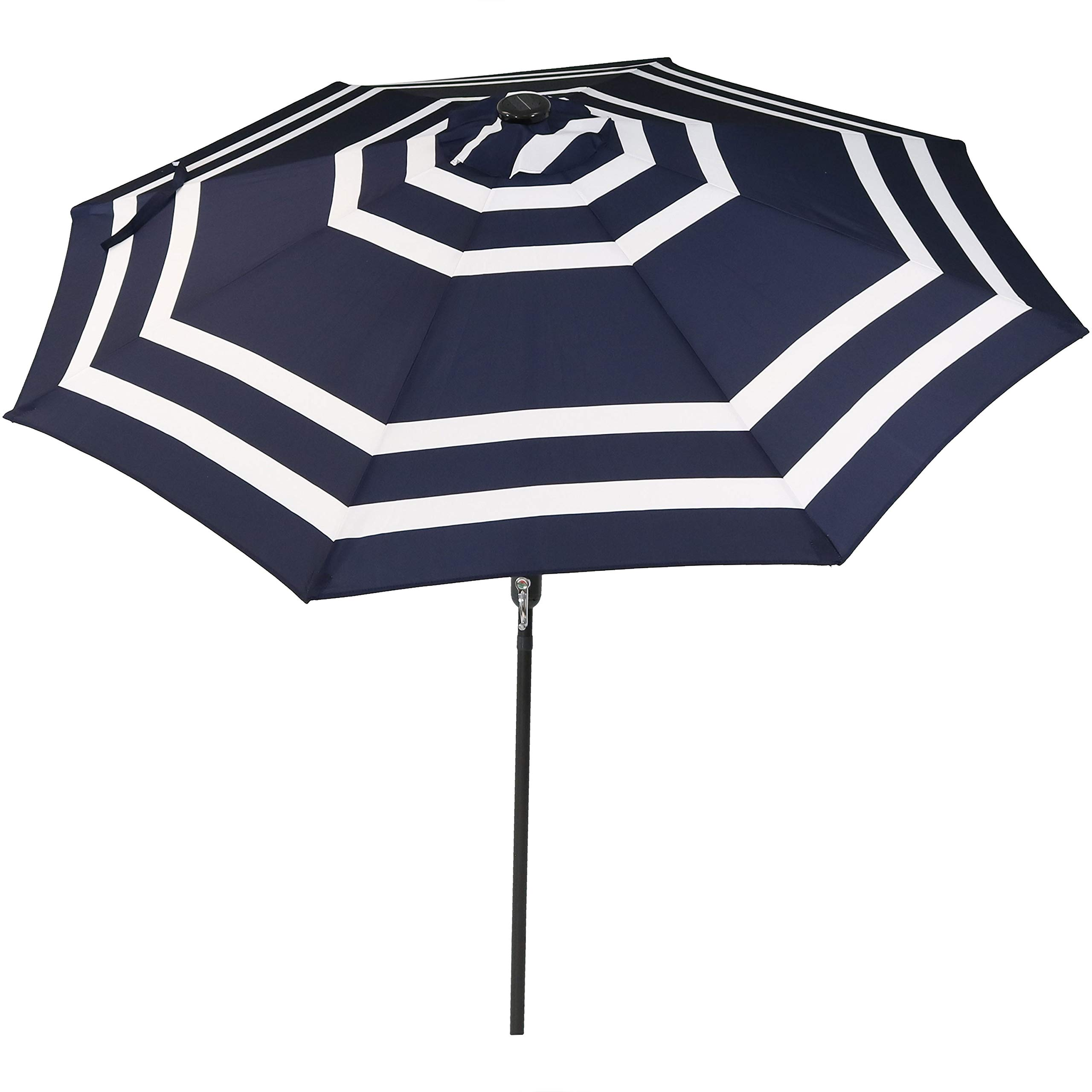 Sunnydaze 9 Foot Outdoor Patio Umbrella with Solar Lights & Tilt/Crank, LED, Navy Blue Stripe