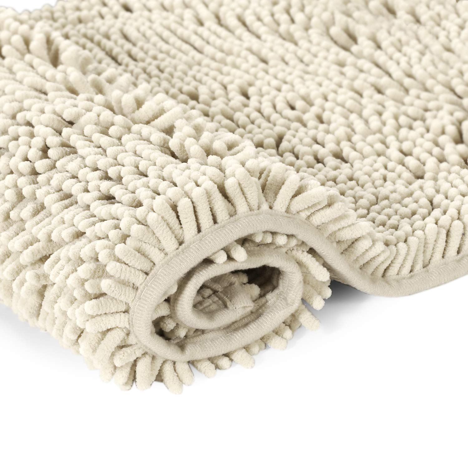 H.Versailtex Soft Absorbent Non Slip Bath Rug Fluffy Microfiber Chenille Bath Mat Bathroom Mat Machine Washable Ivory Shower Rug 50 x 80 CM