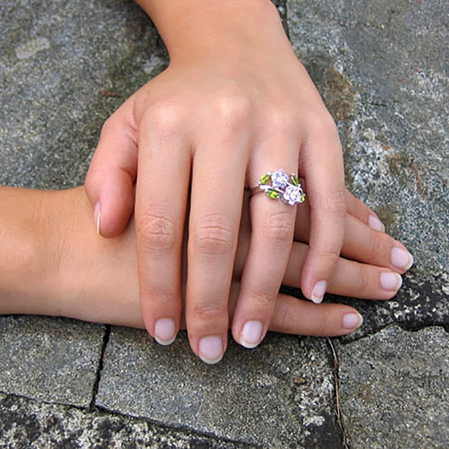 Amazon.com: Sterling Silver Purple and Pink Colored CZ Flowers Ring ...