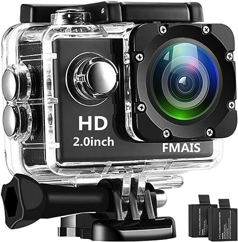 FMAIS Cámara Deportiva 2.0 Pulgadas LCD Full HD 1080P Action Cámara Subacuática Impermeable de 30m / 98 pies con 2 baterías Recargables y Kit de Accesorios de Montaje: Amazon.es: Deportes y aire libre