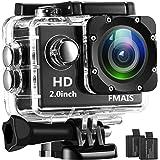 FMAIS Action Kamera Full HD 1080P Wasserdichte Cam 2 Zoll LCD Unterwasser 30m / 98ft Tauchen 140 ° Weitwinkel-Sport-Kamera mit 2 Akkus und Montagezubehör Kits (schwarz)