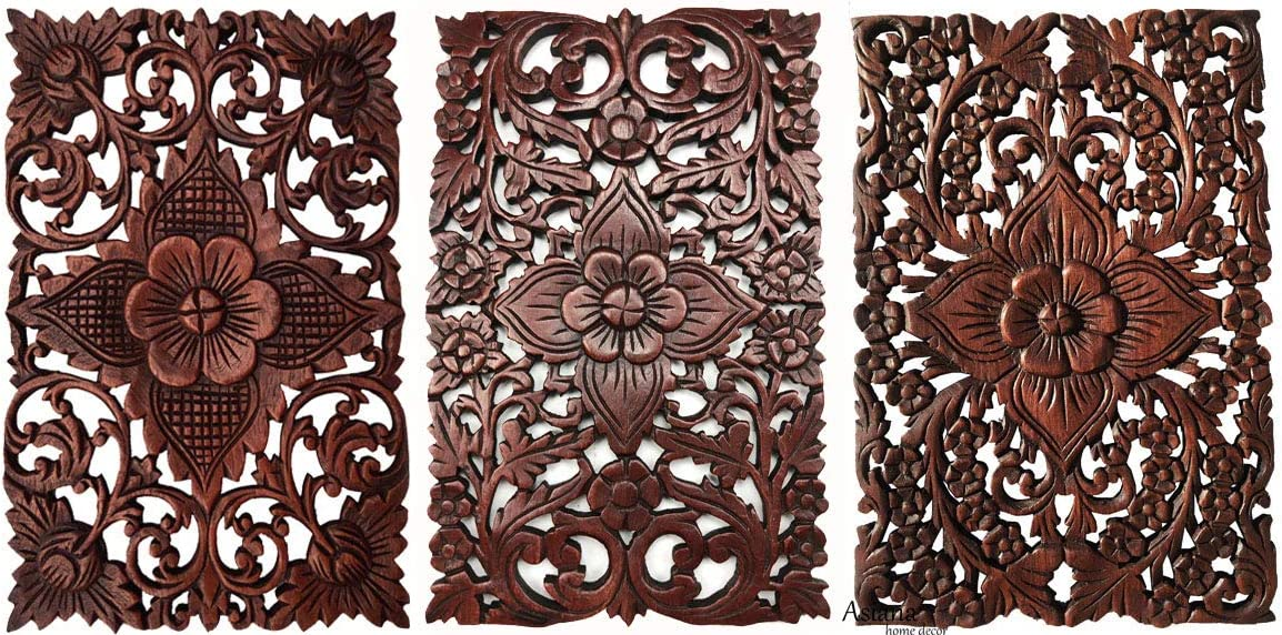 """Set of 3. Wall Art Wood Carved Panel Floral Design. Tropical Wall Decor in Size 12""""x17.5""""x0.5"""" (Dark Brown)"""