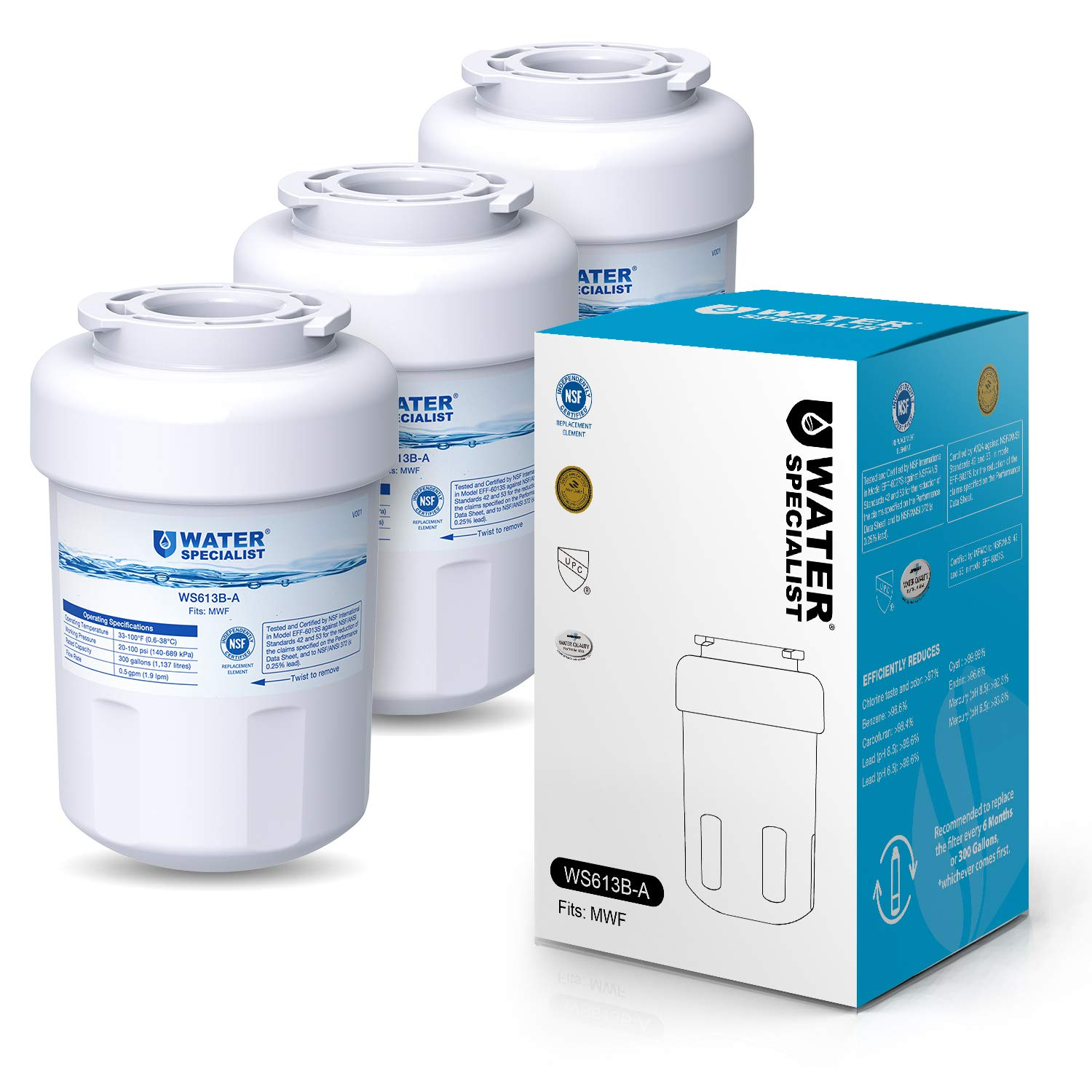 Waterspecialist NSF 53&42 Certified MWF Refrigerator Water Filter, Replacement for GE SmartWater MWFP , MWFA, GWF, HDX FMG-1, WFC1201, GSE25GSHECSS, PC75009, RWF1060, 197D6321P006 (Pack of 3) by Waterspecialist