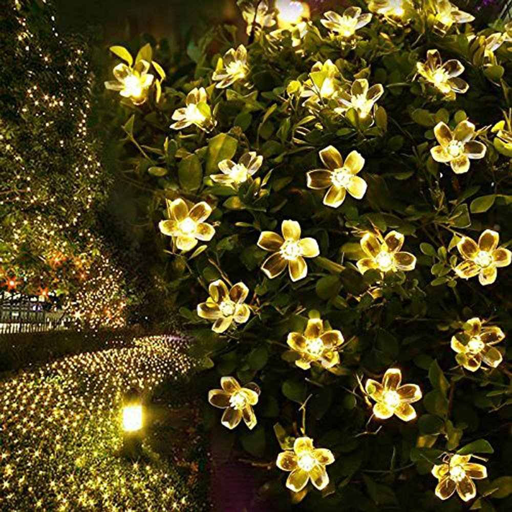 FULLBELL Patio String Lights Cherry Flower Outdoor Lights 66 Feet 200 LED Light Decorations Chirstmas Tree, Party, Wedding, Bedroom, Indoor Outdoor Lighting (Warm White)