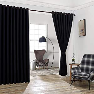 """WARM HOME DESIGNS Extra Large 2 Black Wall to Wall Curtains 108"""" x 120"""" Each with 2 Matching Tie-Backs. Total Width is 216 Inches (18 feet). Great as Room Dividers or Partitions. N Black Wall 120"""""""
