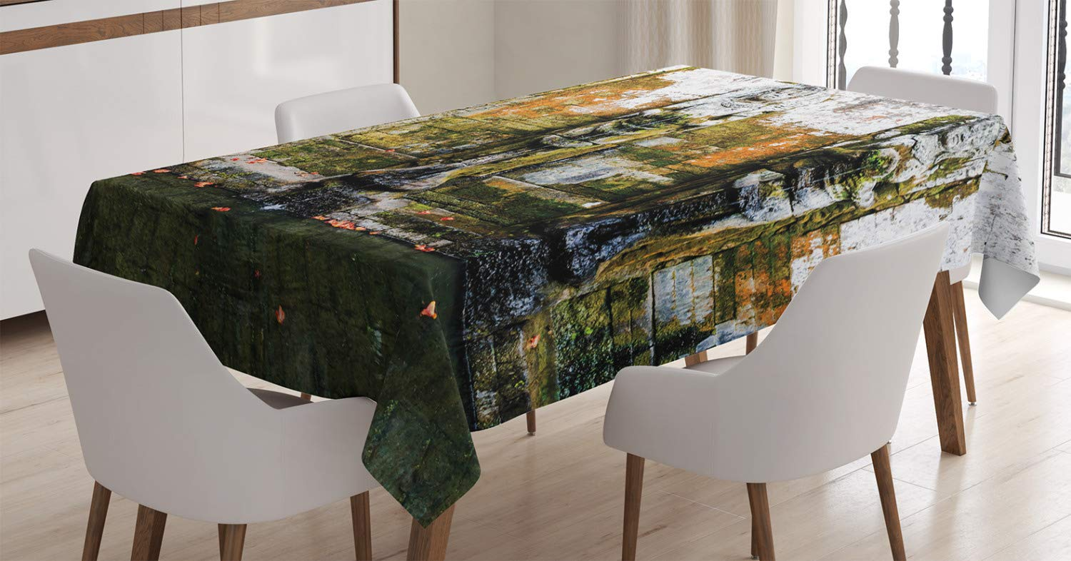 Ambesonne Balinese Tablecloth, Fountain In Ancient Building Bali Asia  Tropics Landmark Travel Destinations Photo, Dining Room Kitchen Rectangular  Table ...
