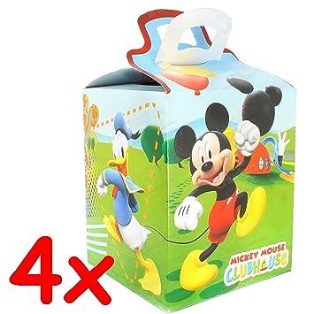 4 cajas de regalo * Mickey Mouse Club House * para Fiesta y Cumpleaños infantiles//Cono//Obsequios regalo Treat Caja Party caja cartón Papel Niños ...
