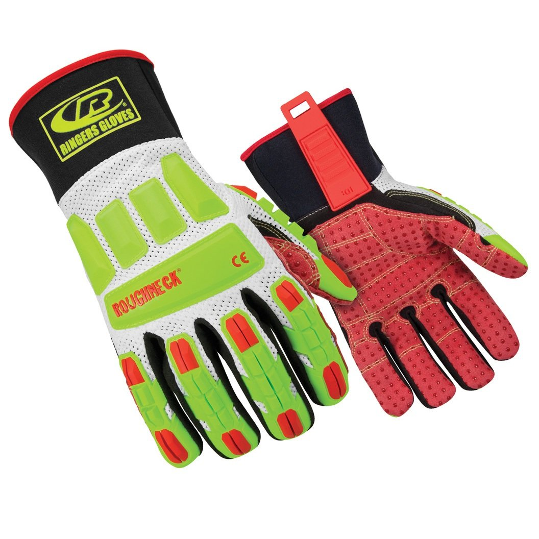 Ringers Gloves R-268 Roughneck Vented, Heavy Duty Impact Glove, Breathable Vented Mesh, CE Level 2 Cut Protection, Large