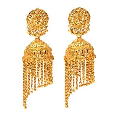 Buy Jewar Mandi Gold Plated Earrings Jhumka Chandbali Look Design