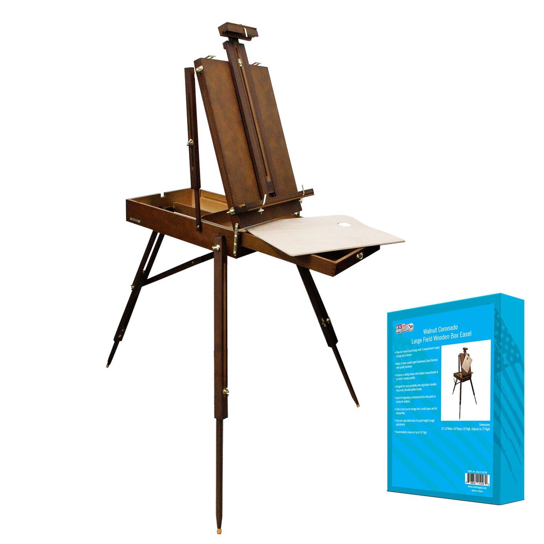 U.S. Art Supply Walnut Coronado French Style Easel & Sketchbox with 12'' Drawer, Wooden Pallete & Shoulder Strap