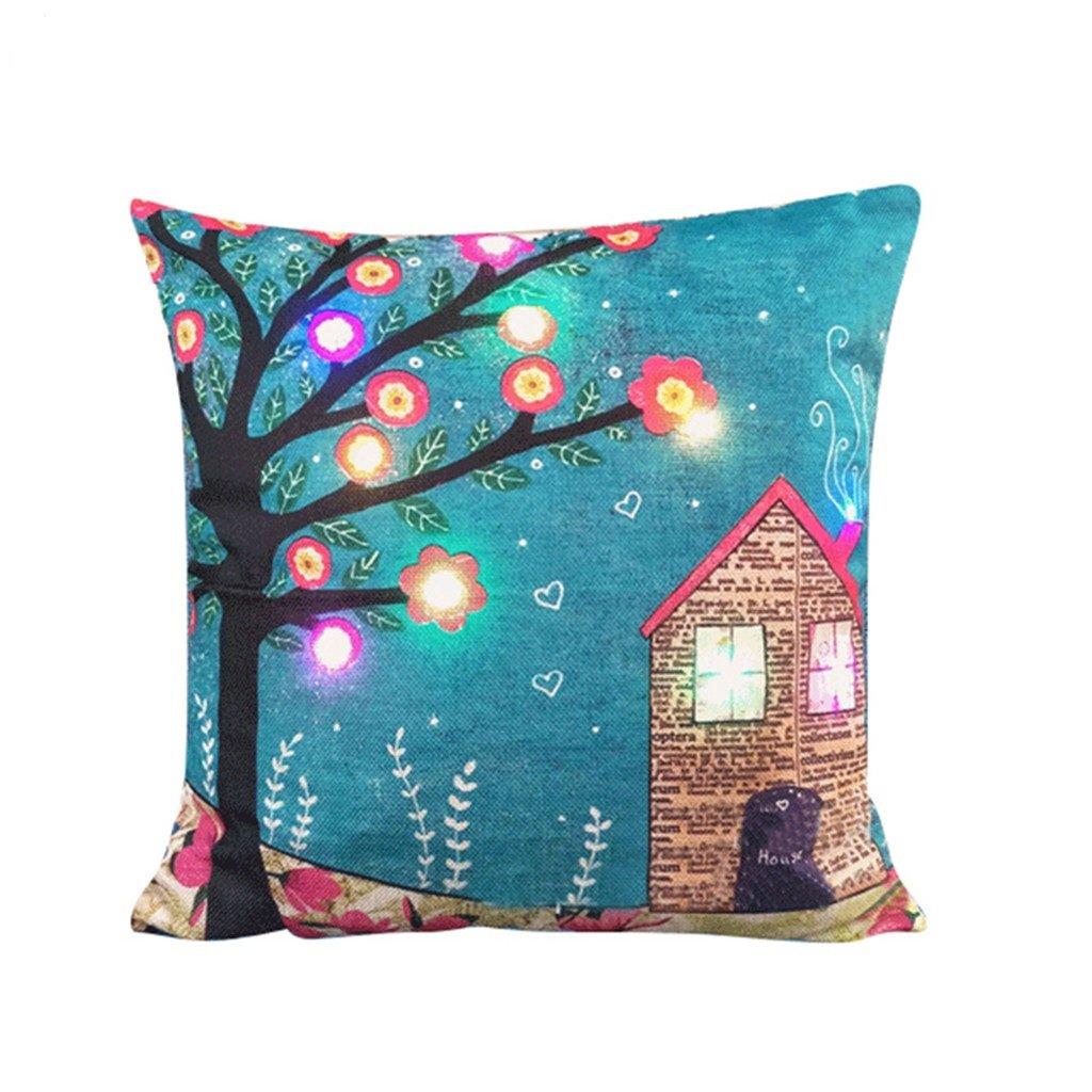 nuohuilekeji LED Lichter Weihnachten Glow Kissen Fall Bett Sofa Kissenbezug Xmas Party Decor, Leinen, 6#, M
