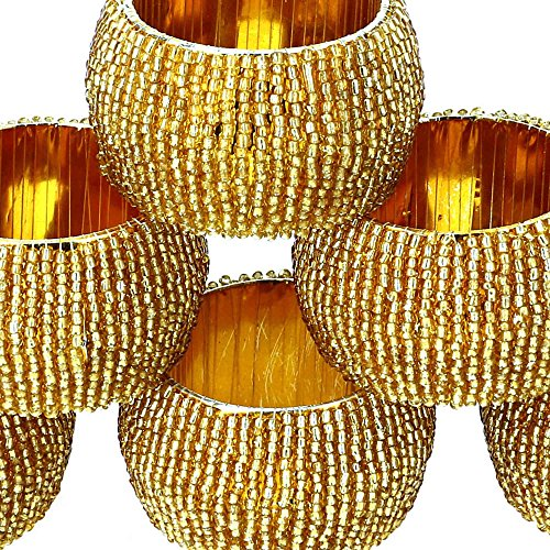 Large Product Image of Handmade Indian Gold Beaded Napkin Rings - Set of 6 Rings