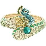 EVER FAITH Women's Austrian Crystal Enamel Adorable Animal Peacock Bangle Bracelet Gold-Tone