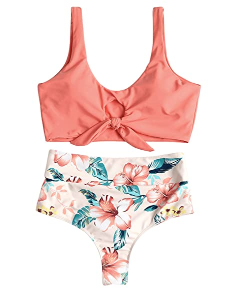 02a7549d57 Amazon.com: ZAFUL Sexy Padded Two Piece Bikini Set Floral Halter Knotted High  Waisted Swimwear (Pink, M): Clothing