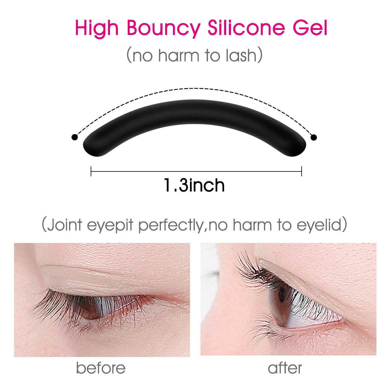Eyelash Curler Lash Curler with Silicone Refill Pad Best Lash Curling Tool - Long lasting & Natural Looking Curls Painless, No Pinching, 1 Pack